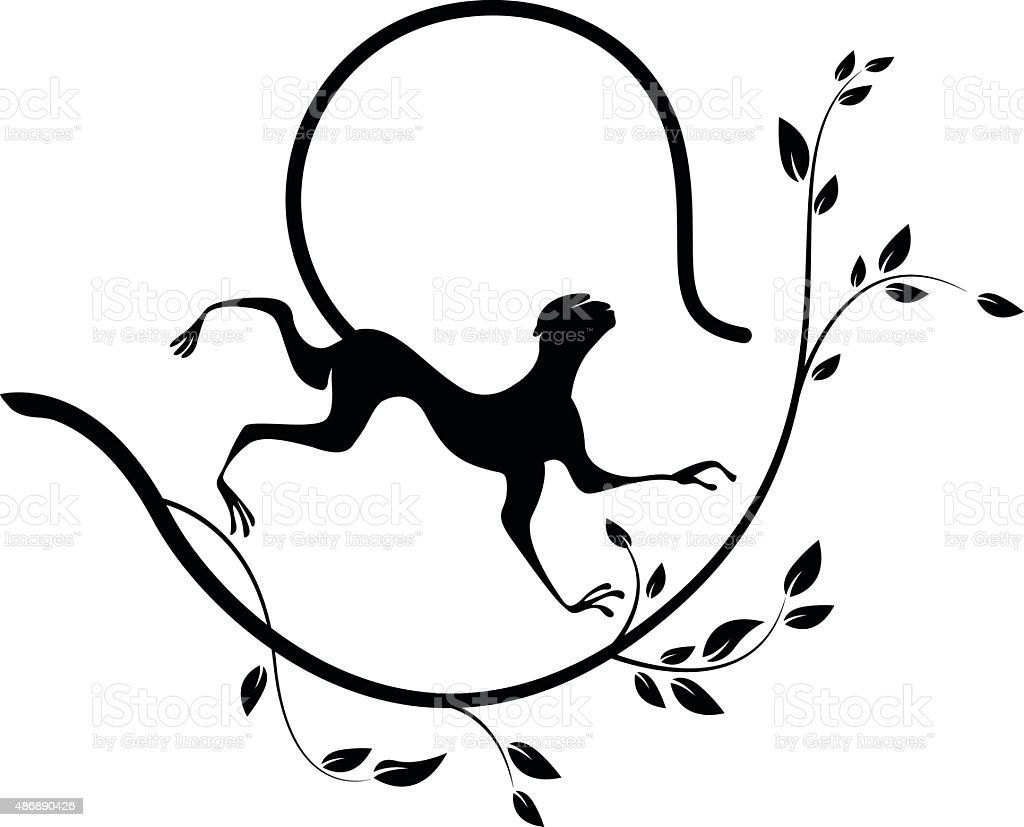Black silhouette of Monkey and branch vector art illustration