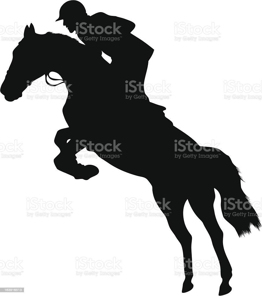 Black silhouette of race horse and jockey vector art illustration