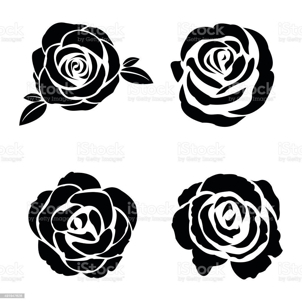 Black silhouette of rose set vector art illustration