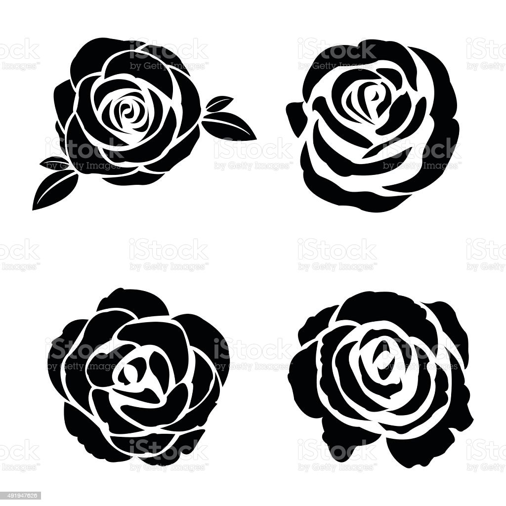 Black silhouette of rose set vector art illustration