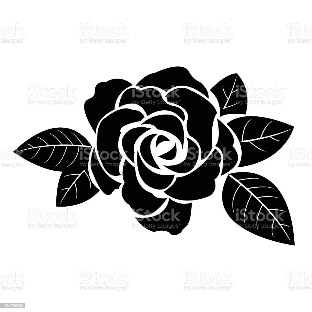 Black silhouette of rose with leaves vector art illustration