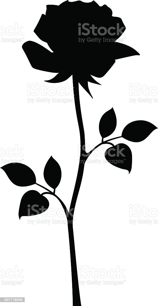 Black Silhouette Of Rose With Stem Vector Illustrations ...