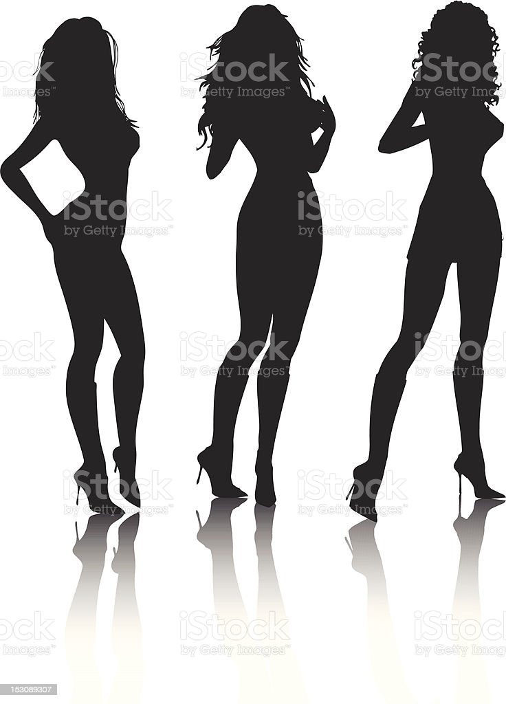 Black silhouette of sexy females on white background vector art illustration
