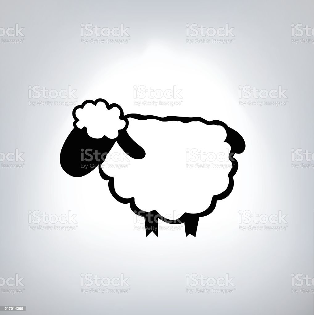 black silhouette of sheep vector art illustration