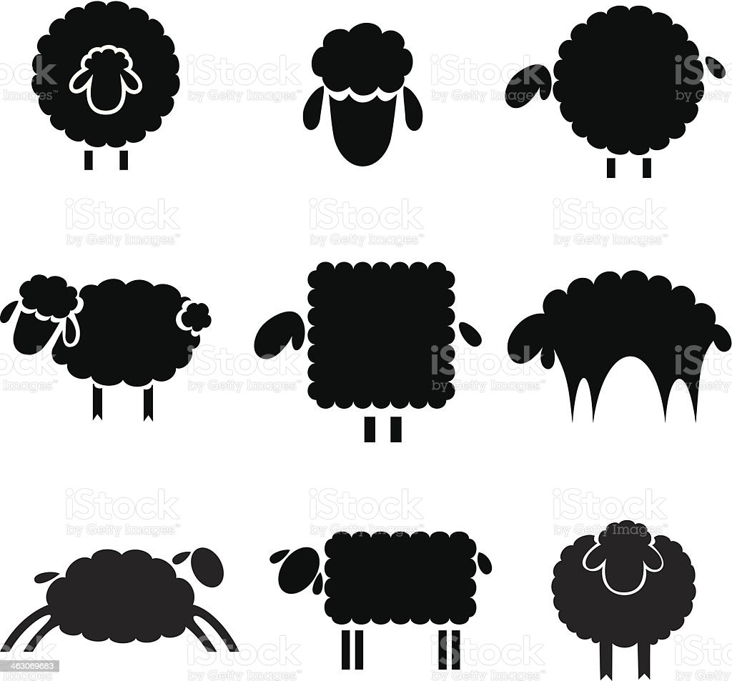 black silhouette of sheeps vector art illustration