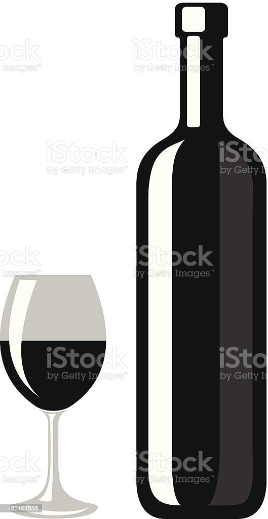 Black silhouette of wine bottle and glass. Vector illustration. royalty-free stock vector art