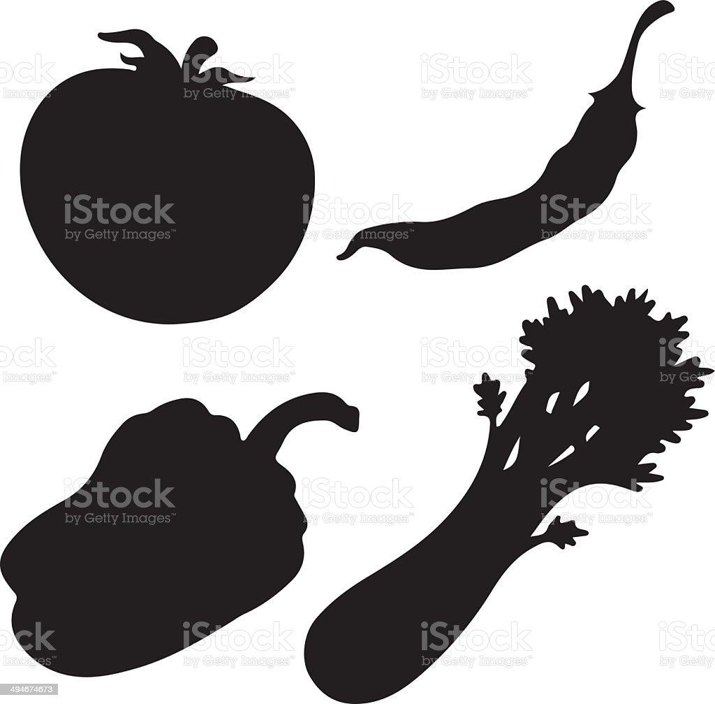 Black silhouette vegetables set isolated on white background vector art illustration