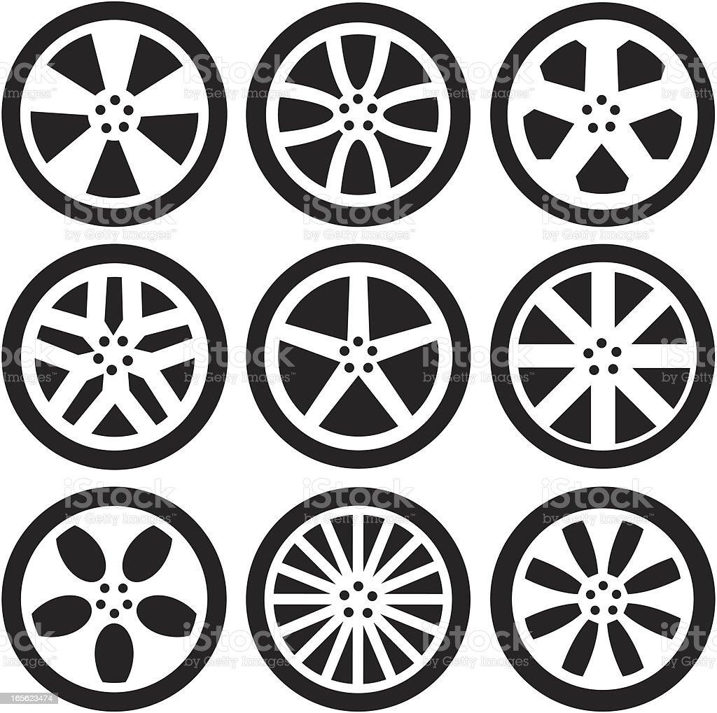 Black Silhouettes -  Alloy Wheels royalty-free stock vector art