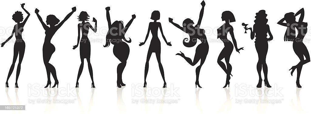 Black Silhouettes - Disco Girls vector art illustration