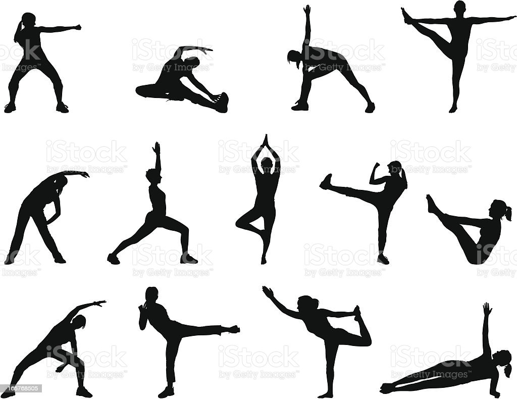 Black silhouettes doing yoga poses on a white background vector art illustration