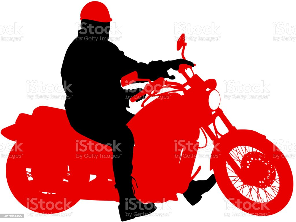 Black silhouettes Motocross rider on a motorcycle. vector art illustration