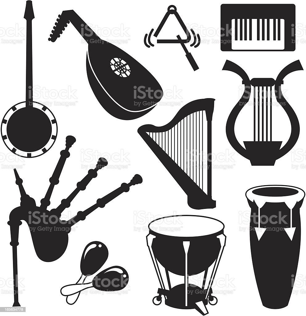 Black Silhouettes - Musical Instruments royalty-free stock vector art
