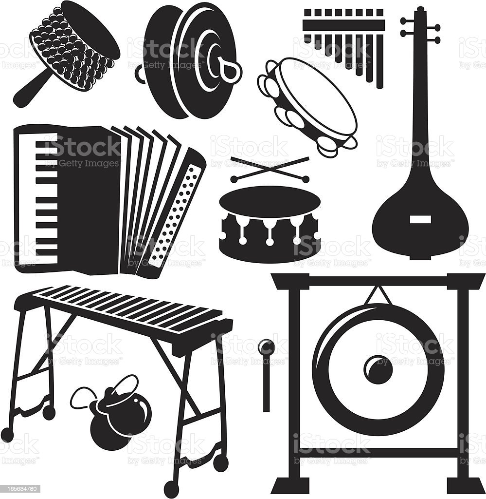 Black Silhouettes - Musical Instruments vector art illustration
