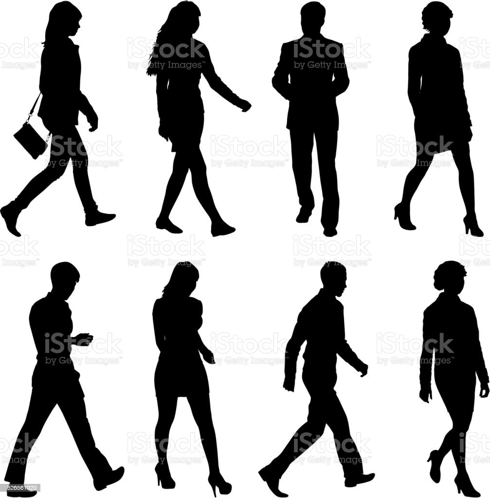 Black silhouettes of beautiful mans and womans on white vector art illustration