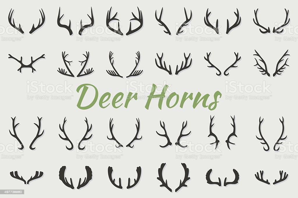 Black silhouettes of different deer horns, vector vector art illustration
