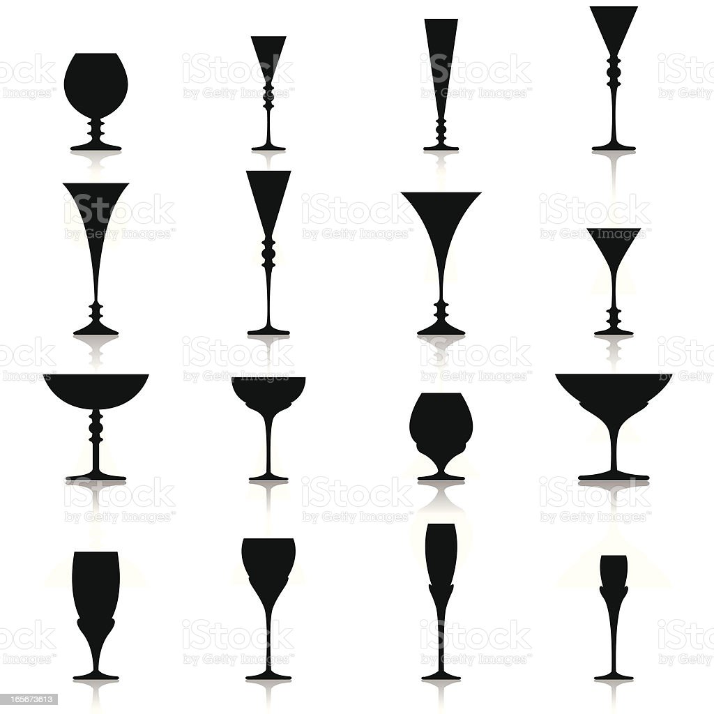 Black Silhouettes of Glasses Cups and Drink Recipients vector art illustration