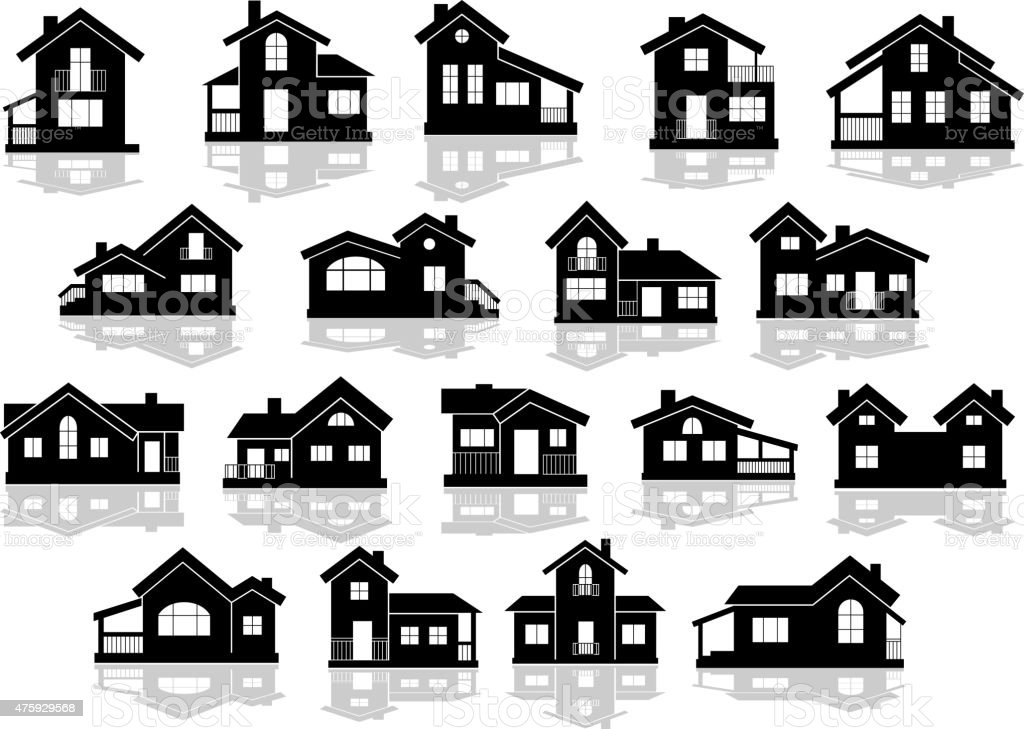 Black silhouettes of houses and cottages vector art illustration