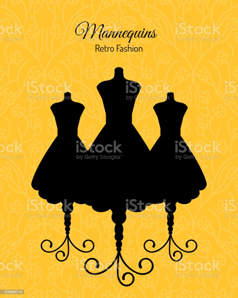 Black Silhouettes of Mannequins vector art illustration
