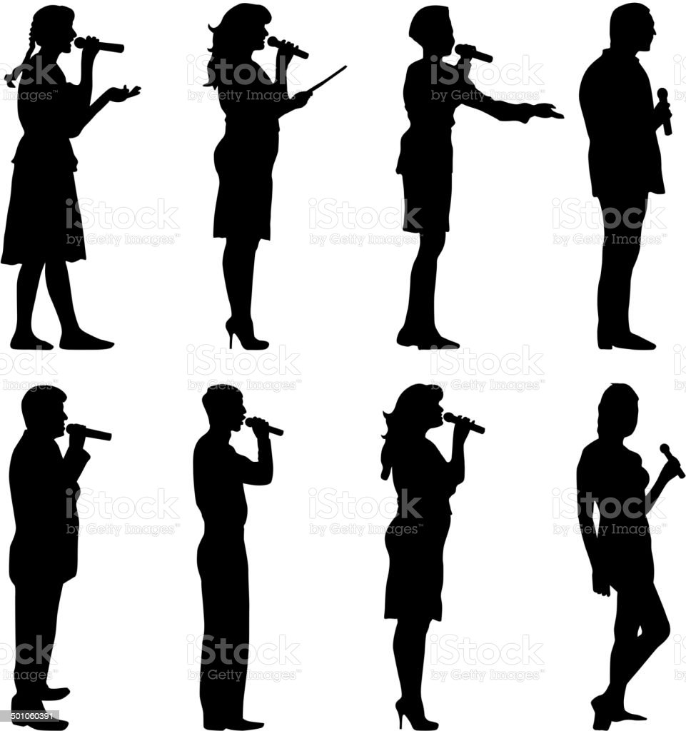 Black silhouettes of  mans and womans vector art illustration