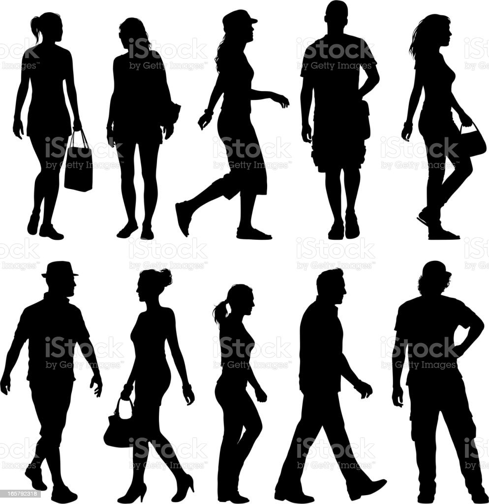 Black silhouettes of men and women against white background royalty-free stock vector art