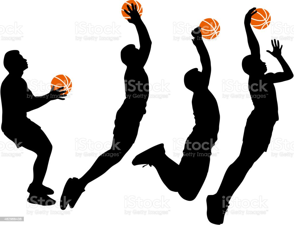 Negro Siluetas De Hombres Jugando Baloncesto Illustracion