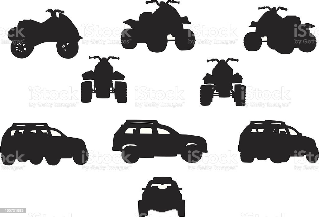 Black silhouettes of off-road vehicles including SUVs vector art illustration