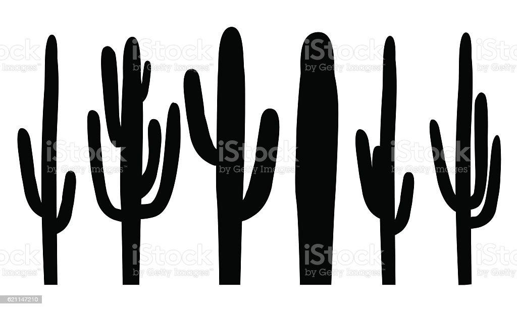 Black silhouettes of saguaro cactus, vector vector art illustration