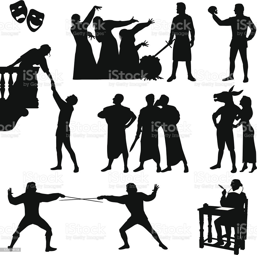Black silhouettes of Shakespeare characters  vector art illustration