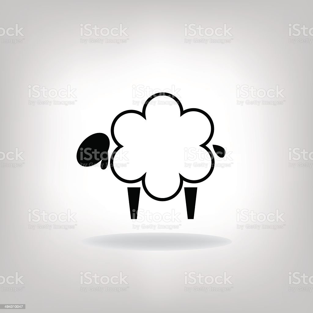 black silhouettes of sheep vector art illustration