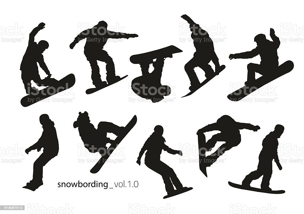 Black silhouettes of snowboarders on a white background. vector art illustration