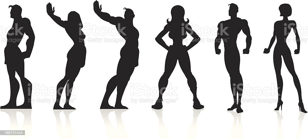Black Silhouettes - Superheroes royalty-free stock vector art