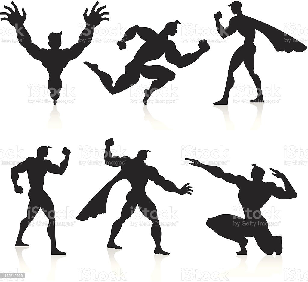 Black Silhouettes - Superheroes royalty-free stock vector art