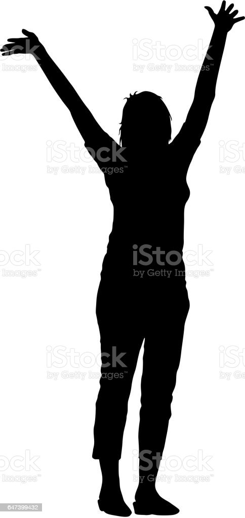 Black silhouettes woman lifted his hands on white background. Vector illustration vector art illustration