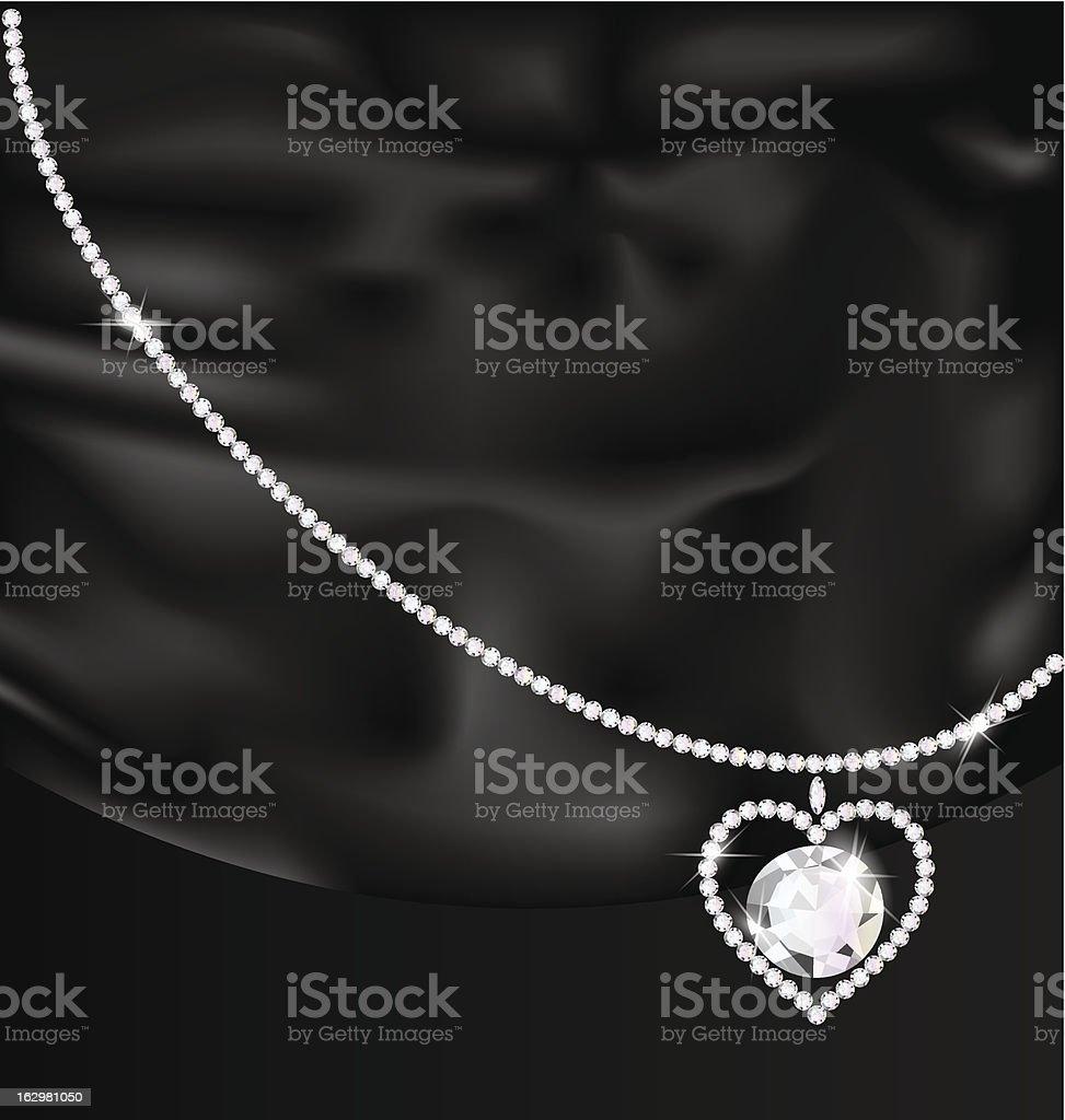 black silk and jewel heart royalty-free stock vector art