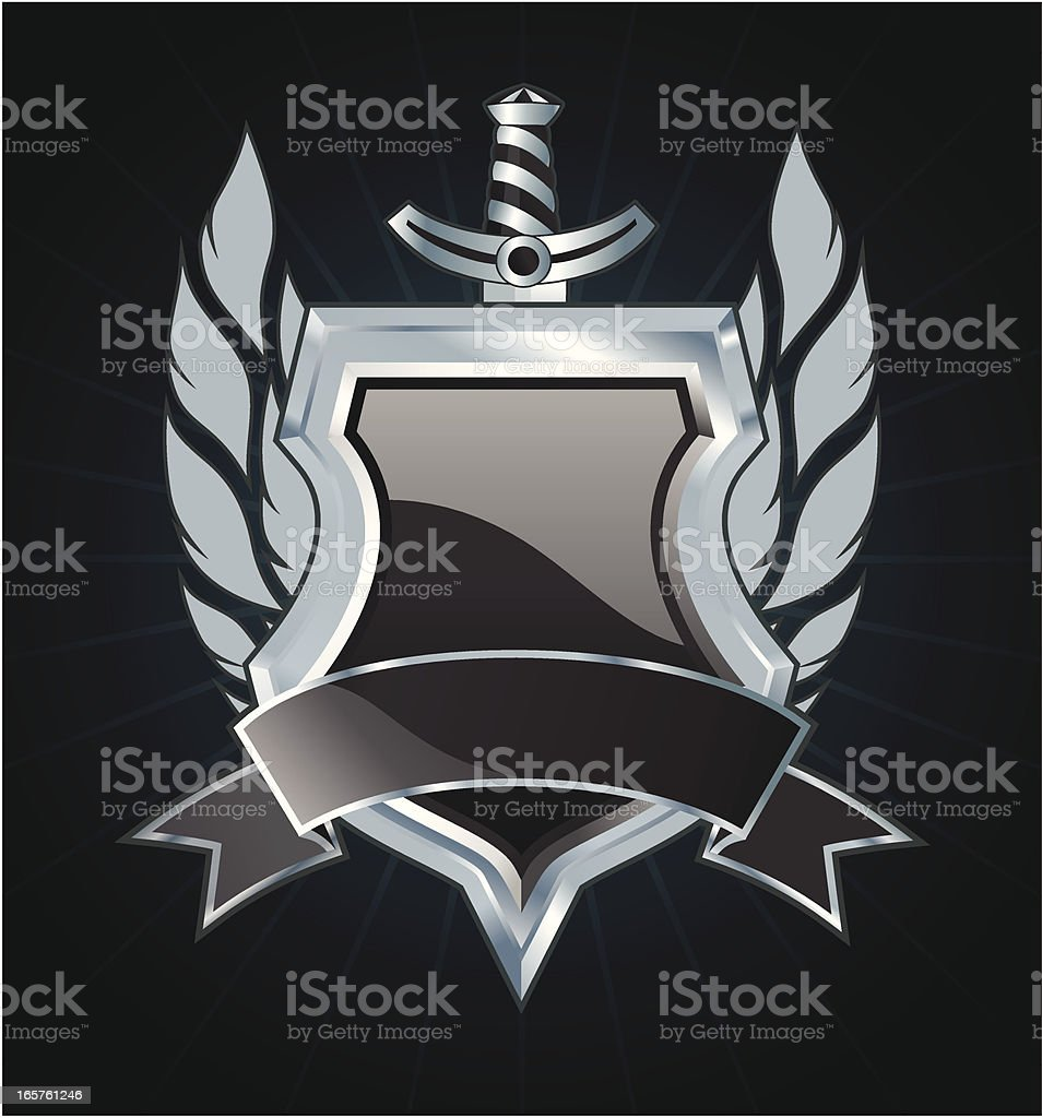 Black silver shield royalty-free stock vector art