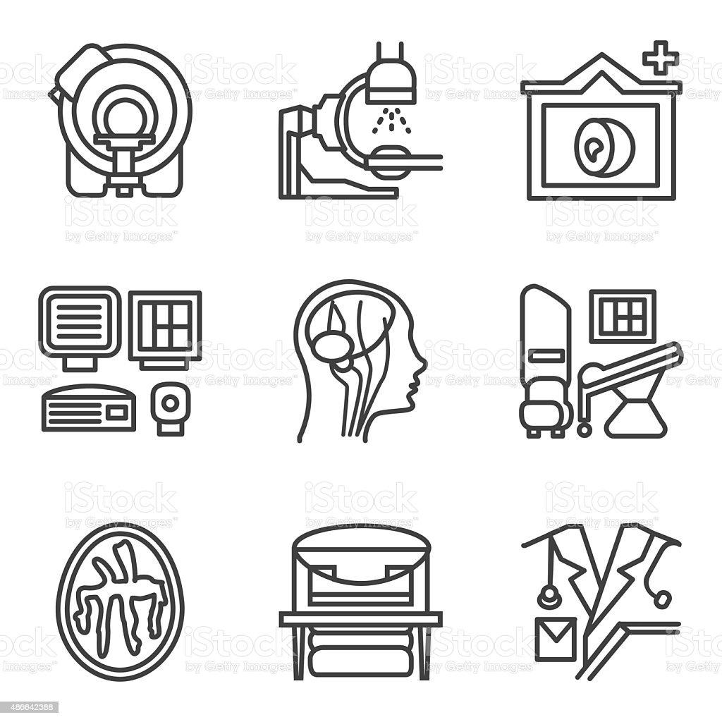 MRI black simple line vector icons set vector art illustration