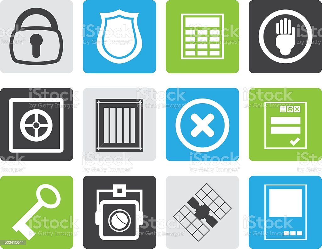 Black Simple Security and Business icons vector art illustration