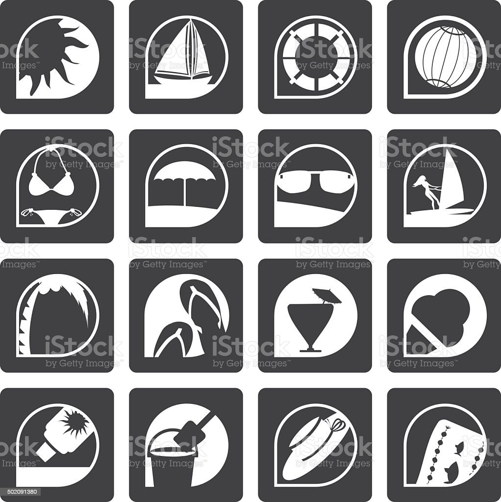 Black Simple Summer and Holiday Icons vector art illustration