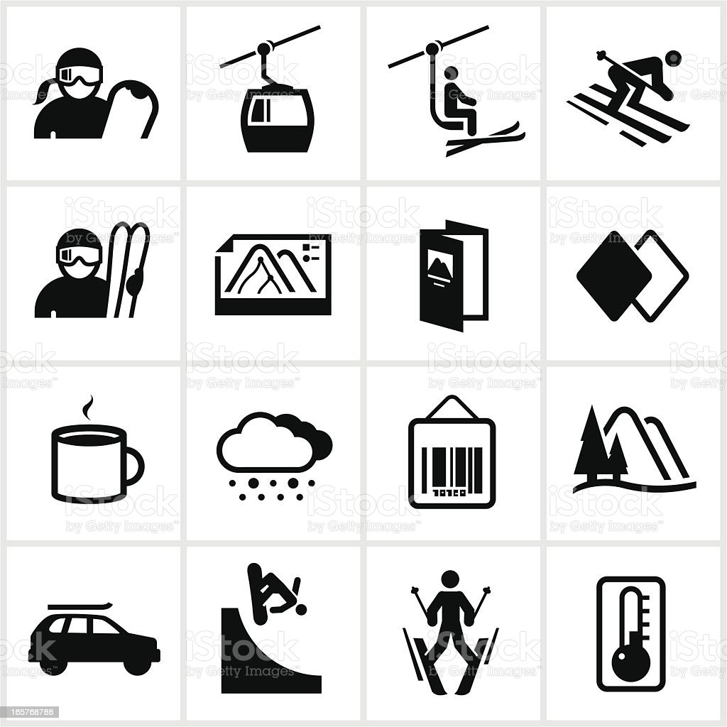 Black Ski and Snowboard Icons vector art illustration