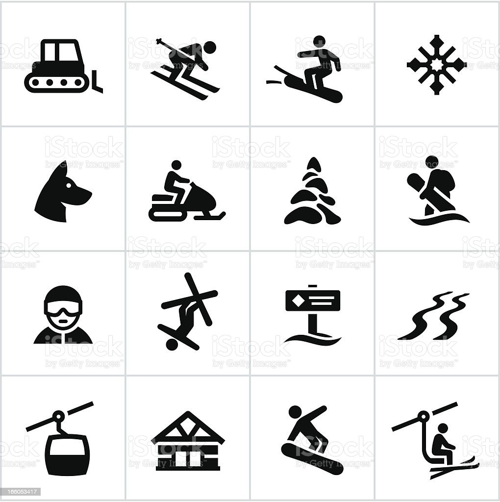 Black Ski Resort Icons vector art illustration