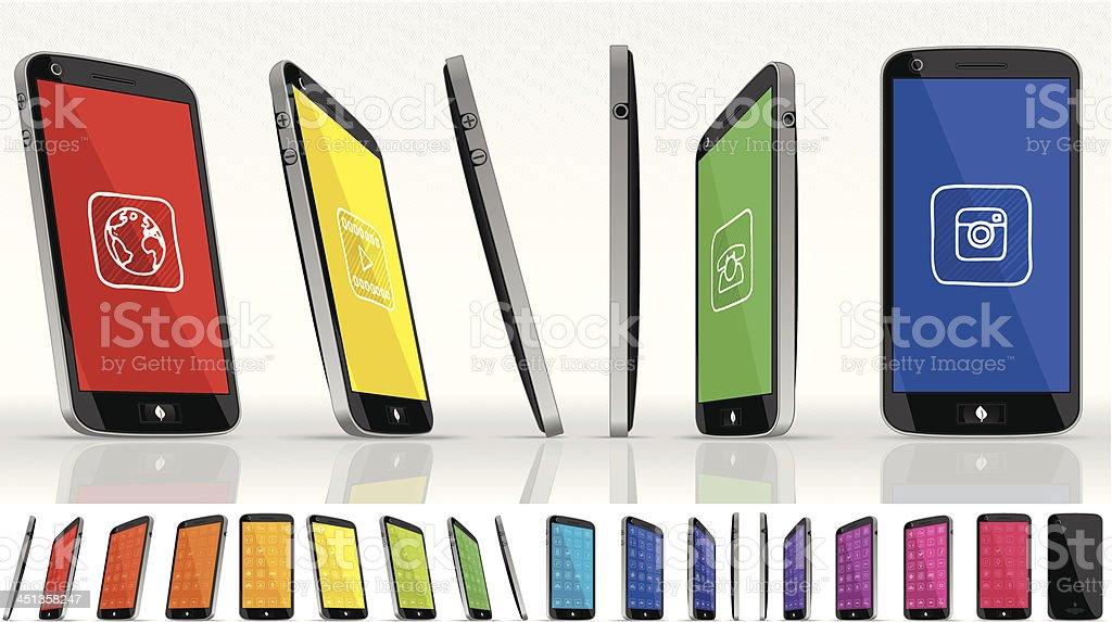 Black Smart Phone - Multiple Views vector art illustration