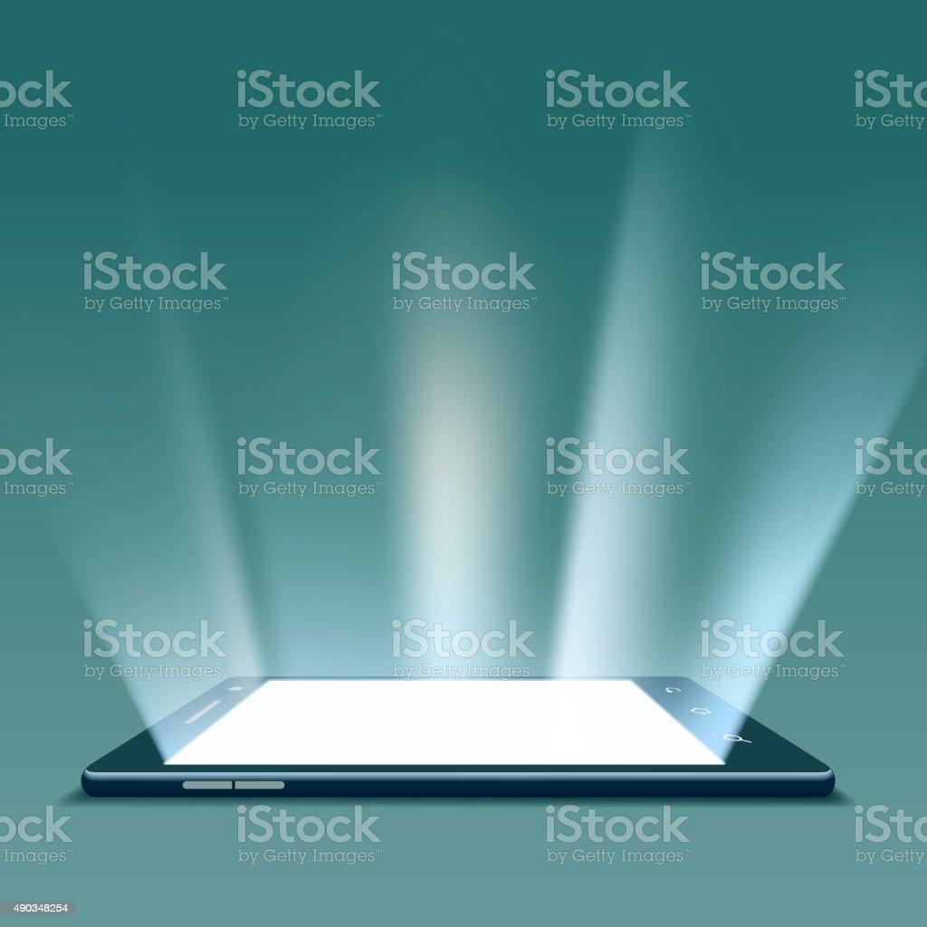 Black smartphone with white screen. vector art illustration