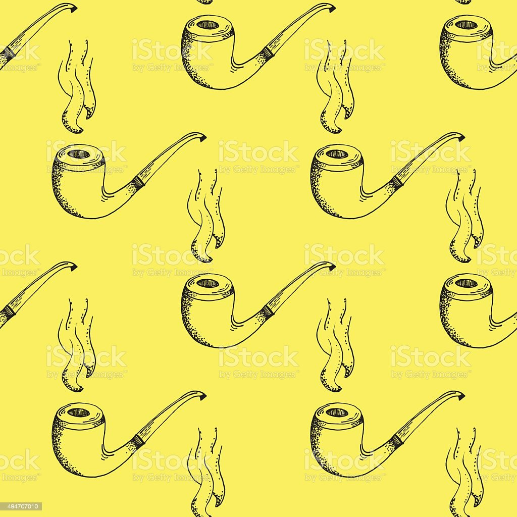 O que significa background image - Black Smoking Pipe Outline Stroke Pattern On Yellow Background Royalty Free Stock Vector Art