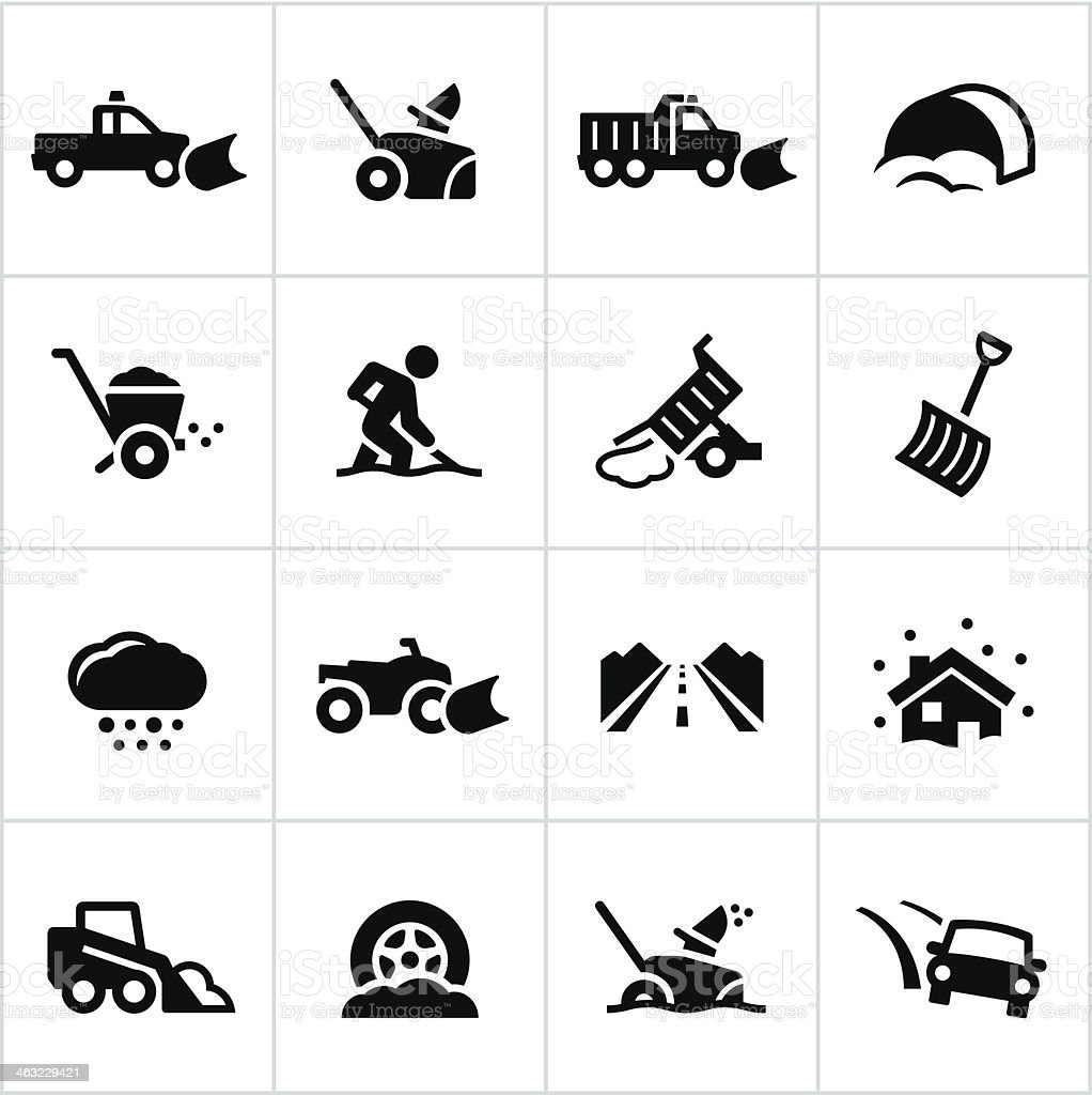 Black Snow Removal Icons vector art illustration