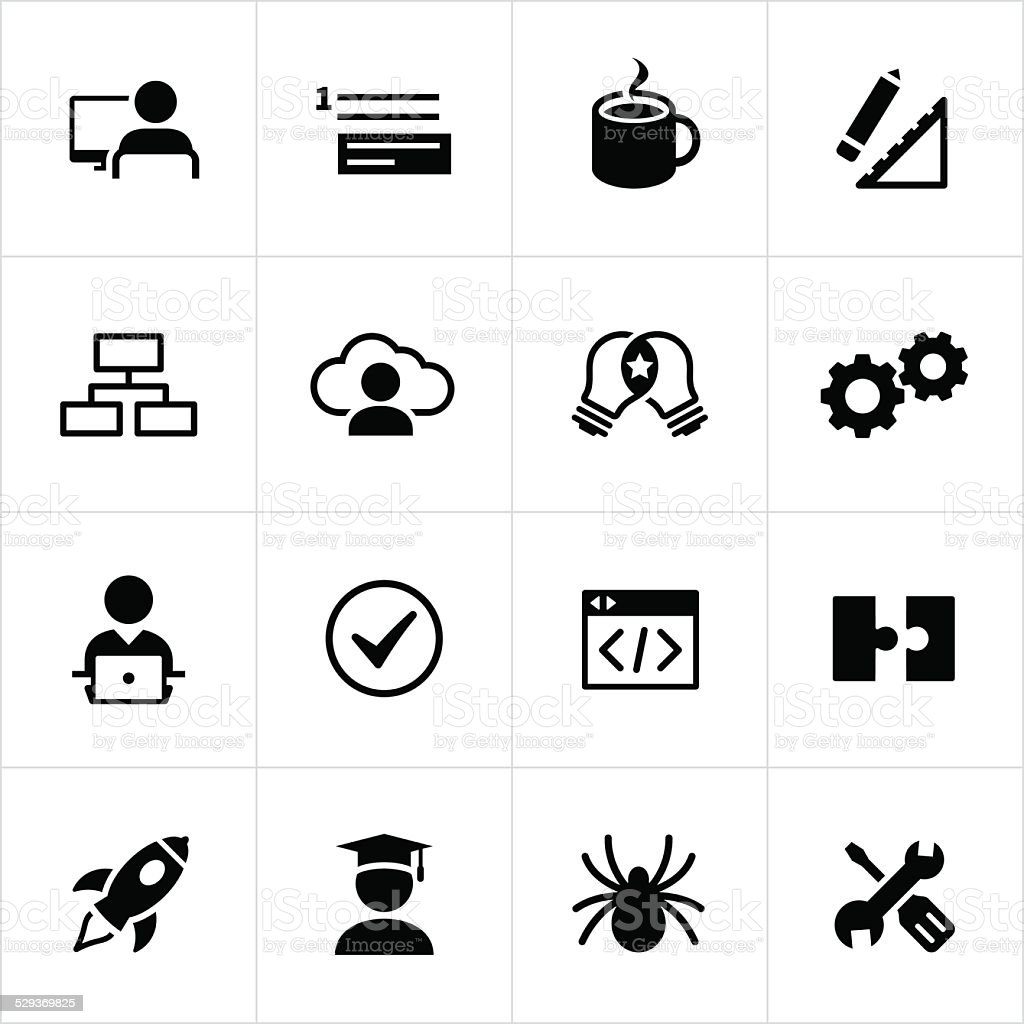 Black Software Development Icons vector art illustration