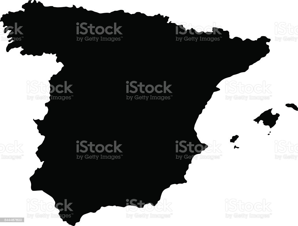 Black Spain Map vector art illustration