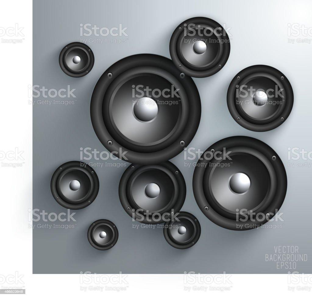 Black speaker isolated on white Background vector art illustration