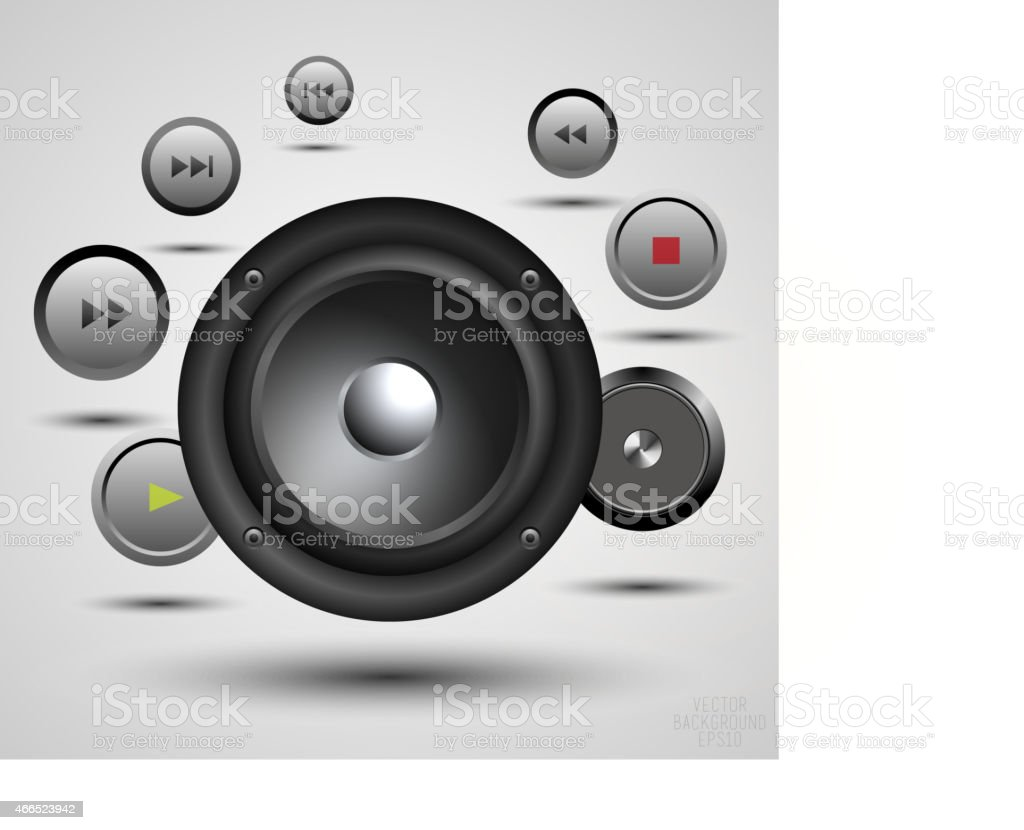 Black speaker, media player and audio player isolated on Background. vector art illustration
