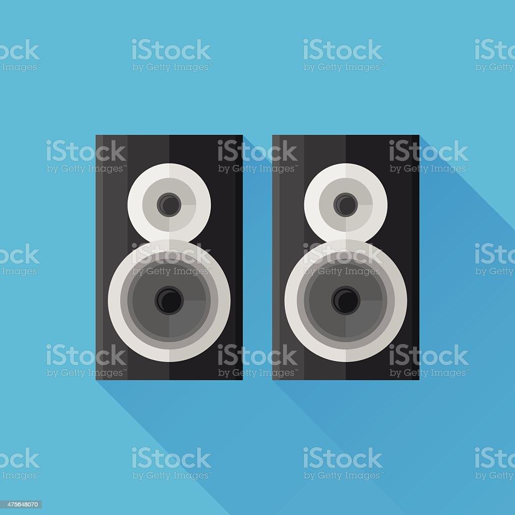 Black speakers flat icon vector art illustration