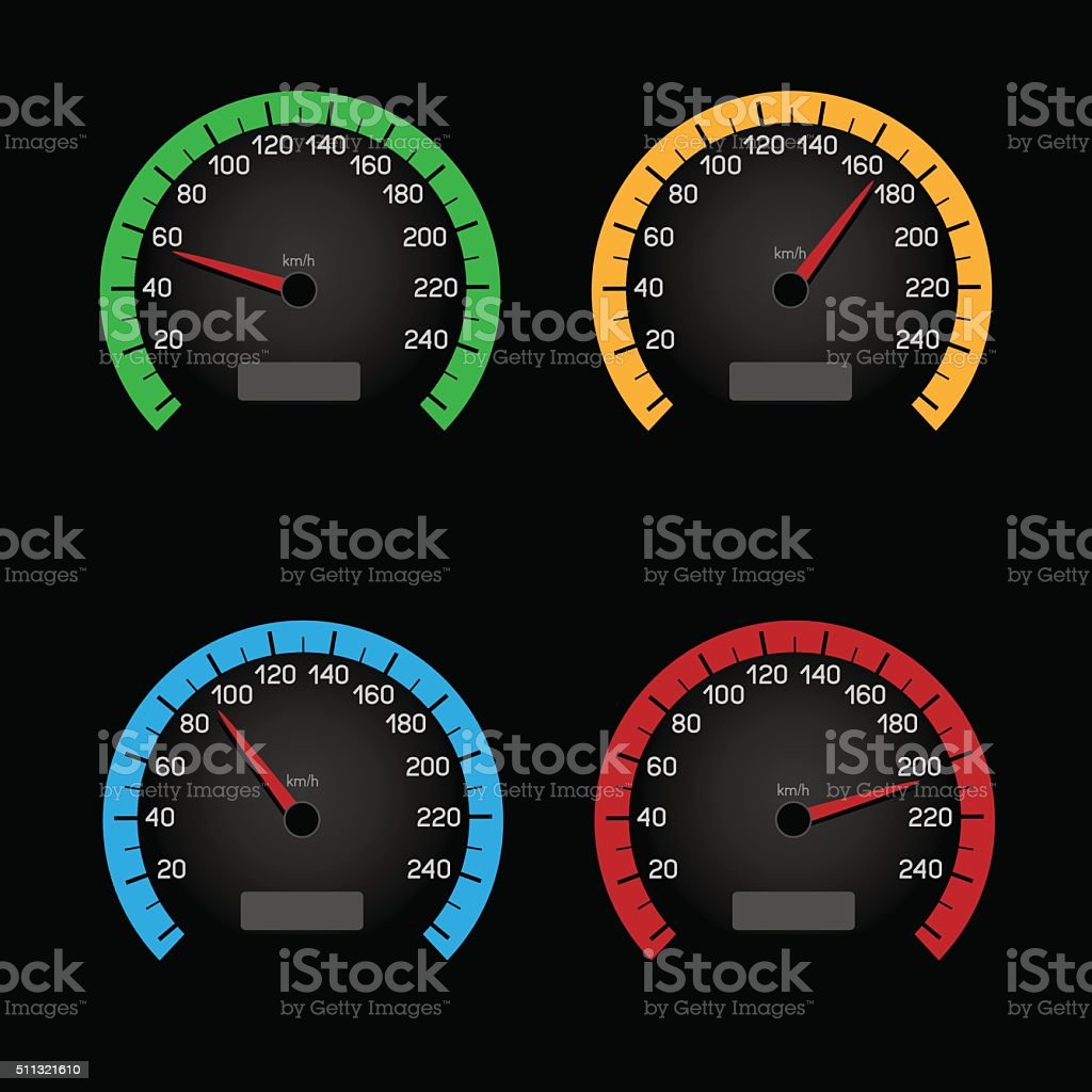 black speedometer dial vector art illustration